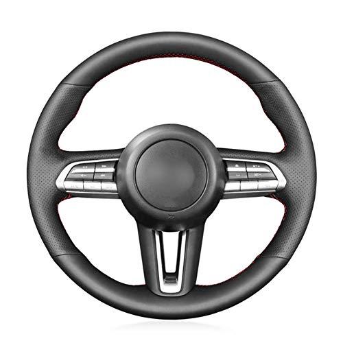 MioeDI Hand Sew Black Leather Car Steering Wheel Cover,For Mazda CX-30 CX30 2019-2020 Mazda 3 Axela 2019-2020