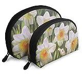 JUKIL Daffodils and Ladybug Set de 2 Bolsas de Maquillaje Set para Viajes y Almacenamiento Diario Shell Shape Handy Cosmetic Pouch Case