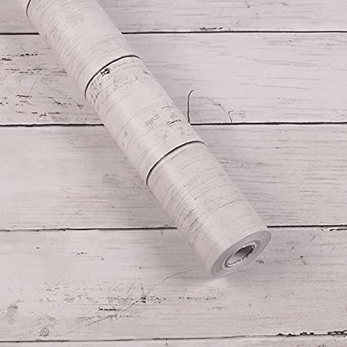 Hwtcjx vinilos madera rustica, adhesivo para encimera, 1 rollo vinilos para muebles vintage, Hecho de material de PVC, impermeable, autoadhesivo, para sala de estar, cocina (45cm x 10m, blanco)