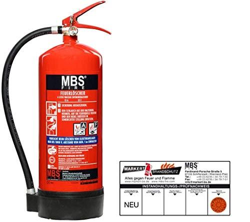 6 Liter Wassernebellöscher Dauerdruck-Feuerlöscher DIN-EN 3-7, GS + Wandhalter + Manometer + Standfuß, 13A 25F = 4 LE neueste Produktion mit Instandhaltungsnachweis von MBS-FIRE