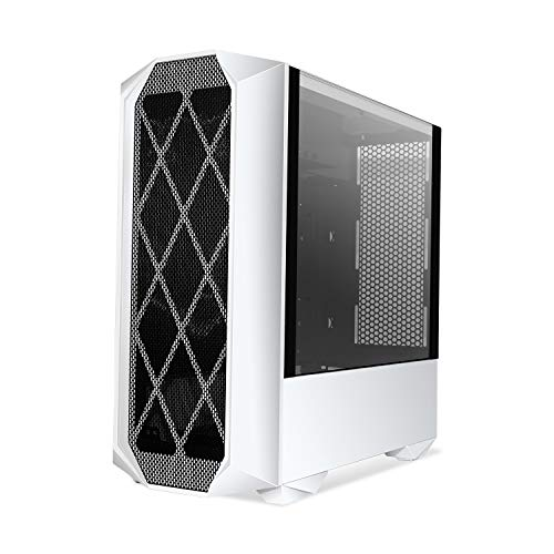 Segotep Typhoon ATX Mid Tower PC Gaming Case with Graphics Card Vertical Mounting, USB 3.0 Ports Tempered Glass Side Panel & Decent Cable Management/Airflow White