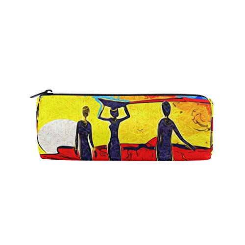 IOPLK Kulturbeutel runde Federmäppchen Kosmetiktasche Federmäppchen CCDMJ Indian Vintage Elephant Floral Pen Pencil Case Bag Holder Zipper Organizer Students Stationery Bags Makeup Brush Pouch for Kid