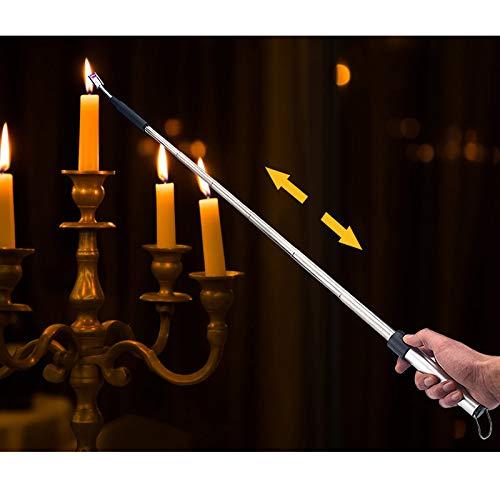 Kohree 360° Lichtbogen Feuerzeug Kerzenanzünder, Ausziehbar USB Lichtbogen Feuerzeug Flammloses Elektronisches Stabfeuerzeug, Wind- & Wetterfest langes Feuerzeug für Küche, Grillen, Herd usw.