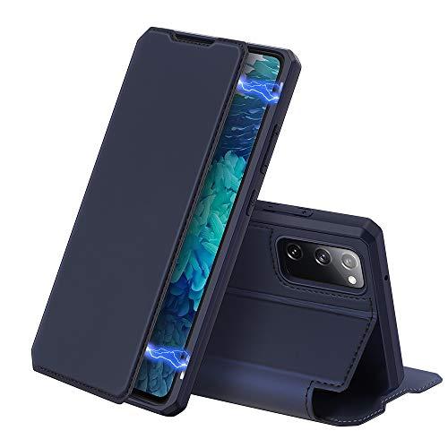 DUX DUCIS Hülle für Samsung Galaxy S20 FE, Premium Leder Magnetic Closure Flip Schutzhülle handyhülle für Samsung Galaxy S20 FE Tasche (Blau)