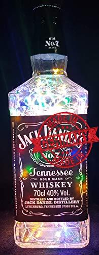 Jack Daniels–Botella lámpara con 80ledes multicolor upcycling regalo Idea