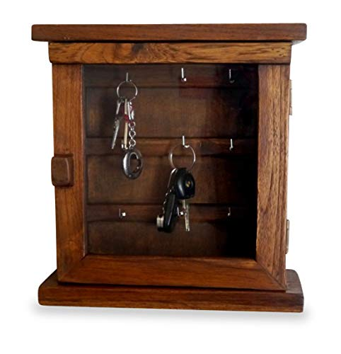 Livasia Armoire à clés, boîte à clés, en Teck avec Porte en Verre, Fait à la Main