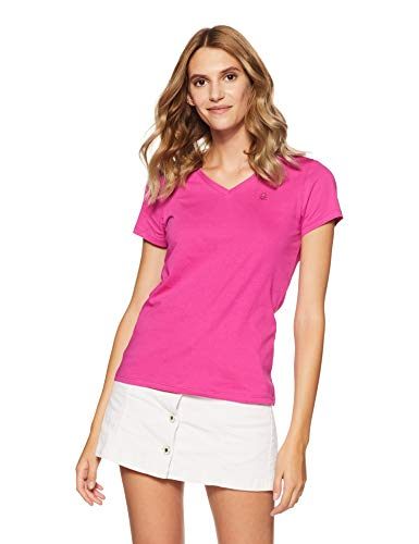 United Colors of Benetton Women's Plain Regular Fit T-Shirt (18A3MG1E950AI_23B_M_Very Berry (Pink))