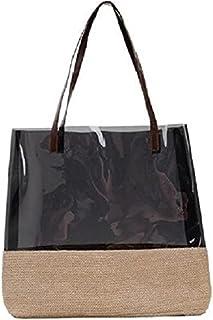 حقيبة نسائية انيقة بسعة كبيرة بلون أسود شفاف وبيج