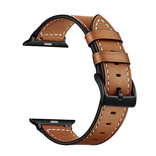 YoChYi Compatible con Apple Watch Series 6 SE 5 4 3 2 1 38mm 40mm 42mm 44mm Correa, Banda de Repuesto de piel Line Trace Classic (Brown, 3840mm)