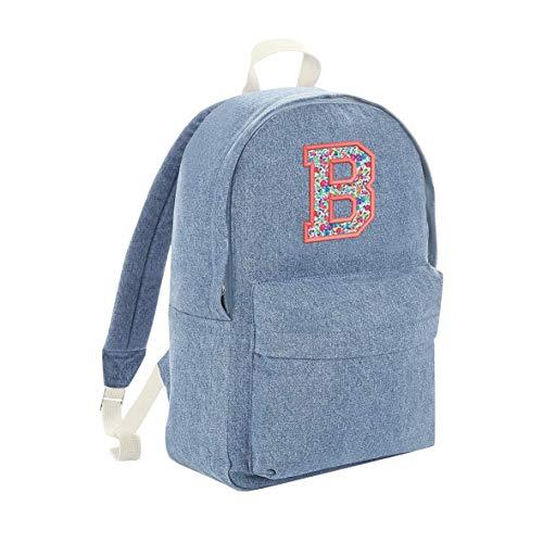 Personalised Embroidery Initial Denim Backpack Liberty Print - Gift Idea Present (Light Denim Prime)