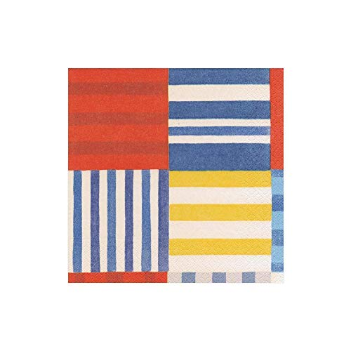 Caspari Papierservietten, gestreift, Patchwork-Motiv, Blau, 80 Stück