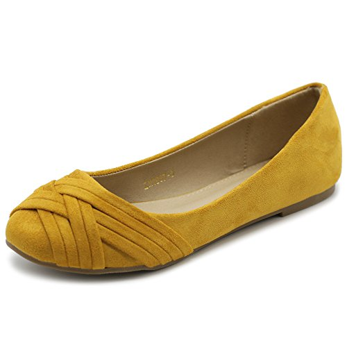 Ollio Women's Ballet Shoe Cute Casual Comfort Flat ZM1987(9 B(M) US, Mustard)