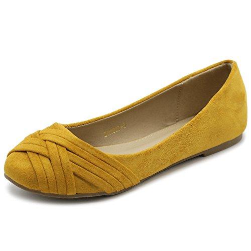 Ollio Women's Ballet Shoe Cute Casual Comfort Flat ZM1987(6.5 B(M) US, Mustard)