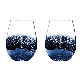 European-style electroplating lead-free crystal glass cup, star sky big belly cup, juice cup, heat-resistant cup, beer mug, red wine glass, star sky egg cup (blue) 2 piece set