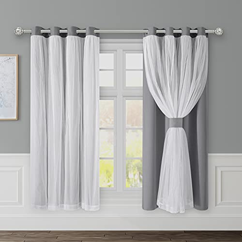 HOMEIDEAS Double Layered Curtains with Sheer 2 Panels Blackout Curtains, Light Grey, 52 X 63 Room Darkening Curtains Thermal Insulated Light Blocking Window Grommet Curtains Drapes for Living Room
