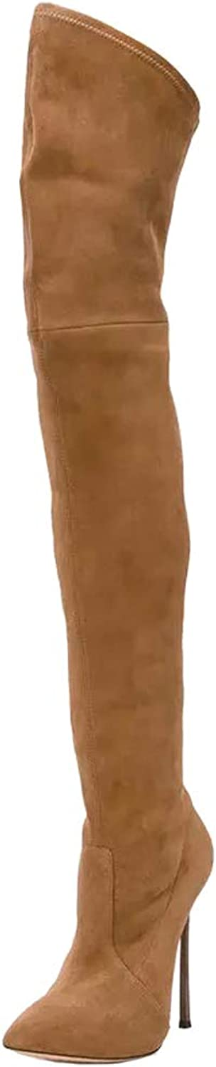 Themost Women's Over The Knee Boots Suede High Heel Wide Calf Winter Boots Thigh High Booties