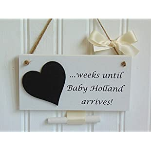 Handmade Chic Shabby Personalised Baby Countdown Wooden Plaque - Perfect Baby Shower / Maternity / Pregnancy Gift