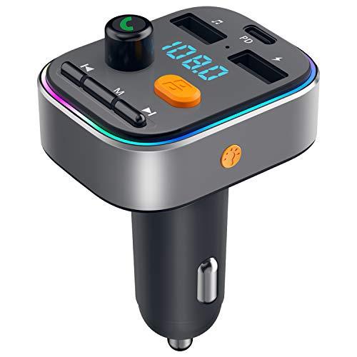 Transmisor FM Bluetooth 5.0, HOLALEI [2020 Versión] Manos Libres Coche Bluetooth PD 3.0 de Carga Rápida Inalámbrico Bluetooth Coche Mechero con 2 Puertos USB 5V/2.4A, Soporte Tarjetas SD + U Disk