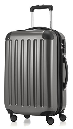 HAUPTSTADTKOFFER - Alex- Carry on luggage On-Board Suitcase Bag Hardside Spinner Trolley 4 Wheel Expandable, 55cm, titan