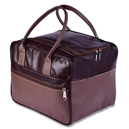 aaru mall Hand Language Bag Foldable Vegan Leather Shoulder Travel Cloth Storage Handbags for Unisex Women Men (Color_Brown)