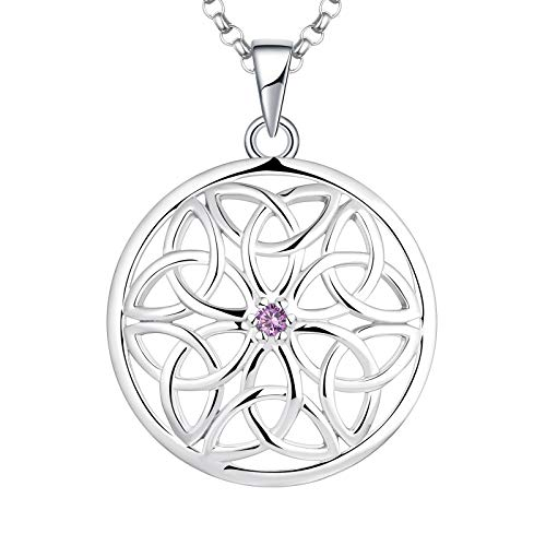 JO WISDOM Celtic Knot Necklace,925 Sterling Silver Irish Triquetra Celtic Knot Pendant Necklace with AAA Cubic Zirconia June Birthstone Amethyst,Jewelry for Women