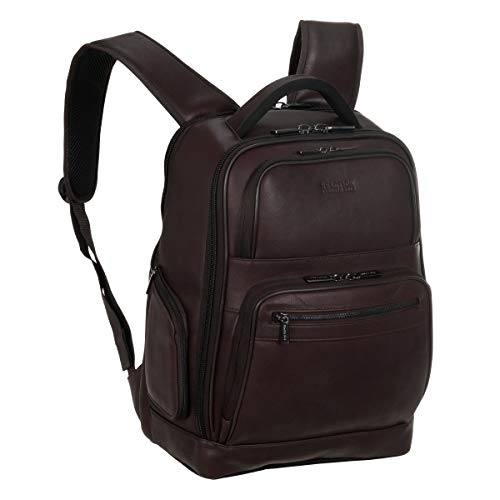 Kenneth Cole Reaction Manhattan Colombian Leather Laptop Backpack RFID Business, School, Travel Computer Bookbag, Brown