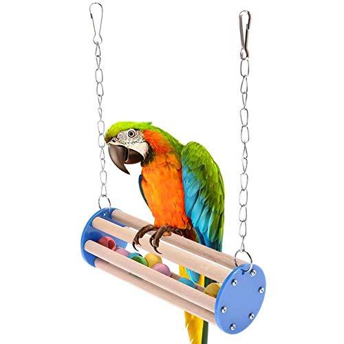 DXQDXQ Juguetes de Loro Pájaro Madera Escalera Columpios Pájaros Hamaca de Madera Que Cuelga la Perca Juguete de Masticación for Pequeños y Medianos Loros de Aves
