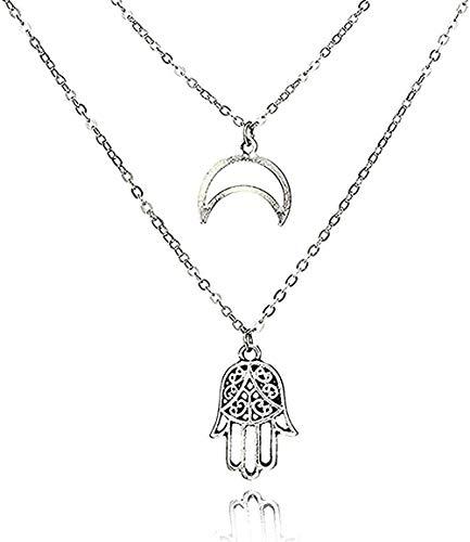 ZHIFUBA Co.,Ltd Necklace Fashion Bohemian Geometric Moon Palm Necklace Simple Silver Statement Chain Ethnic Jewelry Travel Accessories