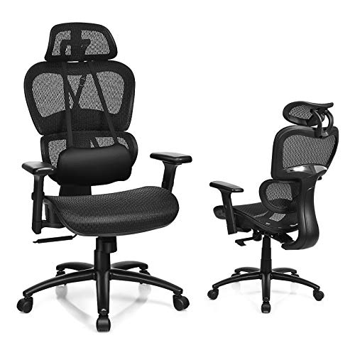 POWERSTONE Ergonomic Office Chair - High Back Computer Chairs with Adjustable Headrest Armrests and USB Massage Lumbar Support Gaming Chair 140°Reclining Breathable Mesh Back