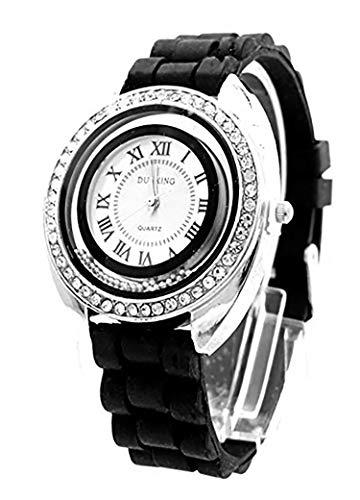 Trendit Damen-Uhr Silber Strass Analoges Quarz Uhrwerk Silikon Armband schwarz