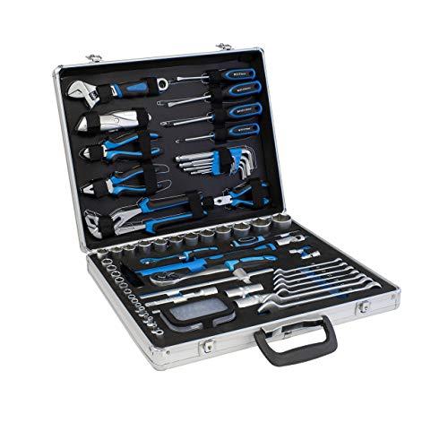 Karcher Werkzeugkoffer, 95-teiliges Werkzeugset aus Chrom Vanadium mit Hammer, Schraubendreher, Schraubenschlüssel, Steckschlüsselsatz uvm.