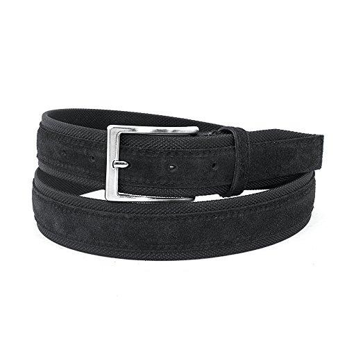 MYB Cintura uomo in tela e camoscio - 100% Vera Pelle - Made In Italy - altezza 35 mm - diversi colori disponibili (115-130 cm, Nero - Nero)