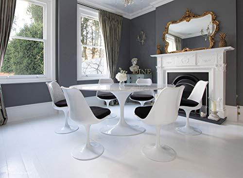 Little Tulip Shop Beistelltisch aus Carrara-Marmor, oval, 170 x 110 cm, Weiß, 6 Tulpen-Beistellstühle Schwarz