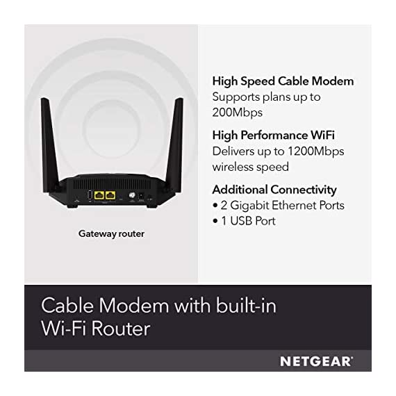 NETGEAR Cable Modem WiFi Router Combo C6220 - Compatible With All Cable Providers Including Xfinity by Comcast, Spectrum… 3 COMPATIBLE WITH ALL MAJOR CABLE INTERNET PROVIDERS: Including certification by Xfinity by Comcast, COX, and Spectrum. NOT compatible with Verizon, AT&T, CenturyLink, DSL providers, DirecTV, DISH and any bundled voice service. SAVE MONTHLY RENTAL FEES: Model C6250 replaces your cable modem and WiFi router saving you up to $168/yr in equipment rental fees. BUILT FOR FAST SPEED: Best for cable provider plans up to 300 Mbps speed.