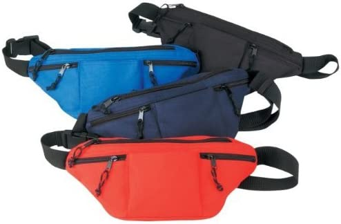 Black 5 popular Four-zipped Travel Fanny Pack In stock Hiking