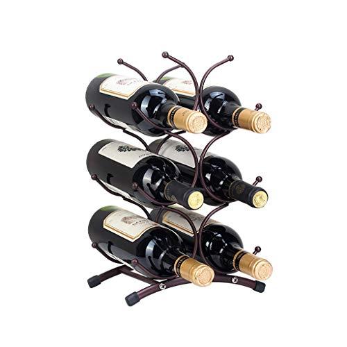 Wine rack Wine shelf Creative Wrought Iron Wine Rack 6 Bottle Wine Holder Kitchen Bar Metal Wine Craft Display Stand Bracket (Color : B)