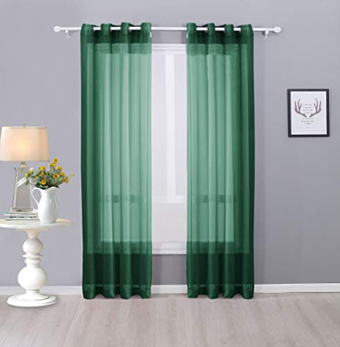 Interior Trends Ariana 2 Piece Sheer Voile Fully Stitched Window Panel Curtain Drape Set with Grommets (63' Length, Hunter Green)