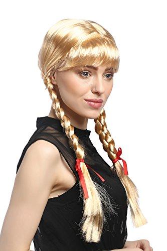 WIG ME UP - XR-008-P02 Perücke Damen Karnveval Fasching Cosplay Zöpfe geflochten mit Schleifen Pony Schulmädchen Lolita Blond Goldblond ca. 60 cm