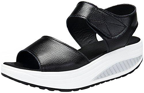 DAFENP Sandali con Zeppa Donna Estivi Comode Cuoio Platform Sandalo Eleganti Plateau Scarpe con Tacco per Camminare LX308-2-black-EU38
