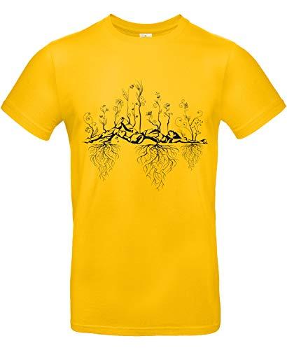 Smilo & Bron Herren T-Shirt mit Motiv Uralter Garten Bedruckt Gold XXL