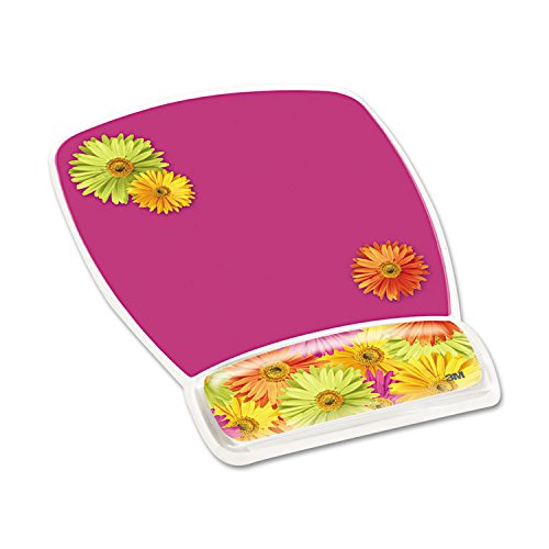 3M MW308DS Fun Design Clear Gel Mouse Pad Wrist Rest, 6 4/5 x 8 3/5 x 3/4, Daisy Design