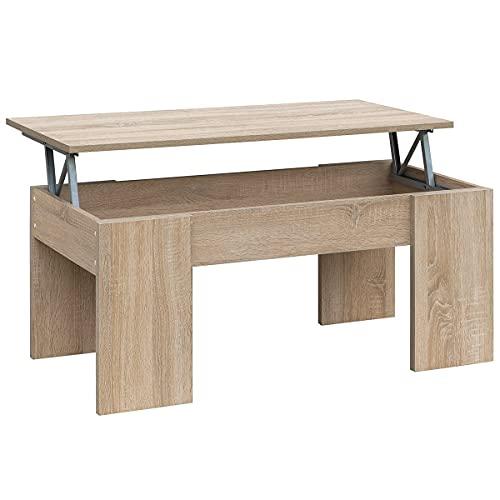 tavolino da salotto rovere COMIFORT Tavolino Sollevabile Estensibile - Tavolino da Salotto Funzionale con Gran capacità di Contenimento
