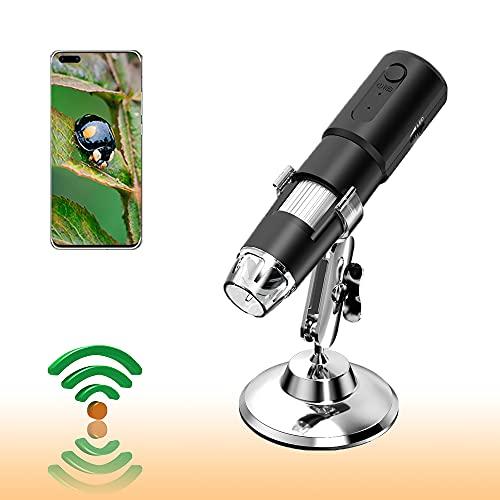NeWorld Wireless Digital Microscope 1X-1000X 1080P Handheld Portable Mini WiFi USB Microscope Camera with 8 LED Lights for iPhone/iPad/Android/PC