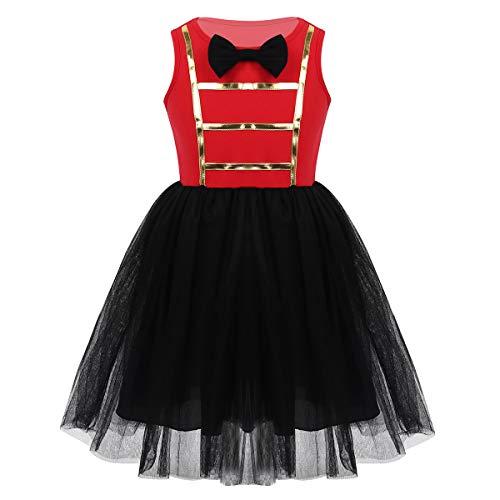 FEESHOW Mädchen Zirkus Kostüm Ärmellos Mesh Tutu Kleid mit Fliege Kinder Halloween Kleidung Cosplay Mottoparty Schwarz 122-128/7-8Jahre