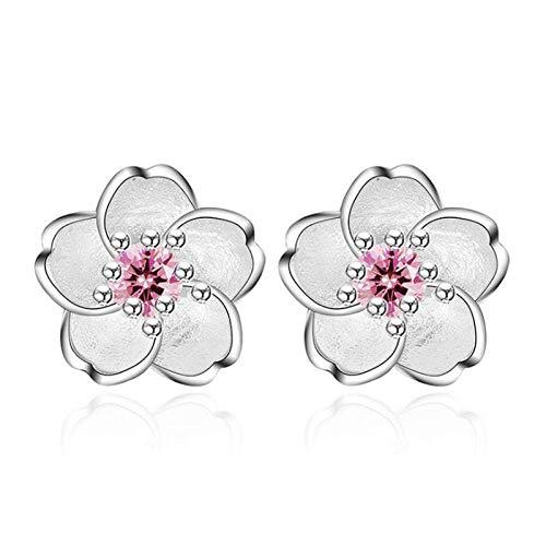 Ohrstecker Ohrring Damen Schöne 925 Sterling Silber Kirschblüte Rosa Ohrringe Für Frauen Schmuck-Pink