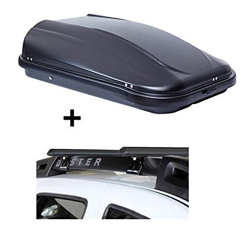 VDP Dachbox JUPRE320 320Ltr schwarz glänzend abschließbar + Stahl Relingträger Aurilis Original kompatibel mit Dacia Duster mit Reling 5 Türer 2014-2017
