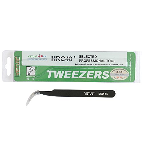 VETUS Tweezer ESD Tweezers Anti-Static Stainless Steel Precision Tweezers for Eyelash Extension Electronic ESD-15