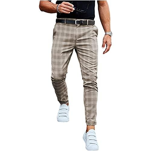 Yokbeer Herren Chino Hose Karierte Stoffhose Lange Regular Fit Stretch Hose Karo-Muster Herrenhose Baumwollhose Männerhose Freizeithose für Männer (Color : Khaki, Size : XXL)