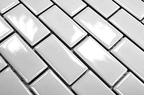Mosaik Fliese Keramik Brick weiß glänzend Badfliese Küchenfliese Wandfliese Verbundmosaik MOS24-3WG_m