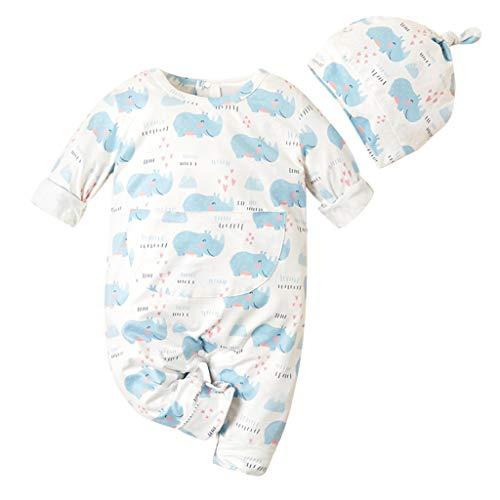 Voberry- Combinaison bébé éléphant Dessin animé Mignon à Manches Longues + Chapeau (0-24M)